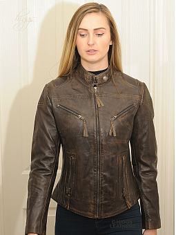 Higgs Leathers SAVE £30!  Libby (ladies Brown Leather Biker jacket)