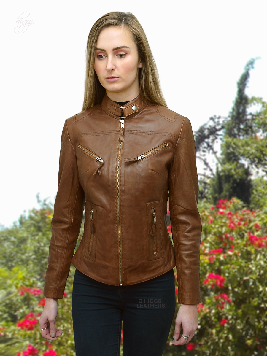 Higgs Leathers {SAVE £30!}  Libby (ladies Cognac Leather Biker jacket)