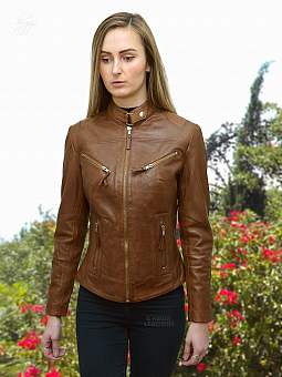 Higgs Leathers SAVE £30!  Libby (ladies Cognac Leather Biker jacket)