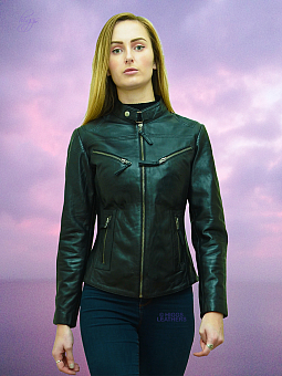 Higgs Leathers SAVE £30!  Libby (ladies Black Leather Biker jacket)