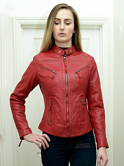 Higgs Leathers SAVE £30!  Libby (ladies Red Leather Biker jacket)