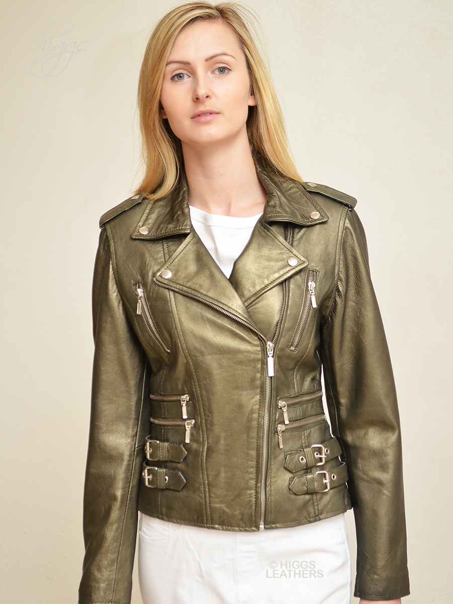 Higgs Leathers {ONE ONLY HALF PRICE!}  Lolito (ladies gold leather Biker jacket)