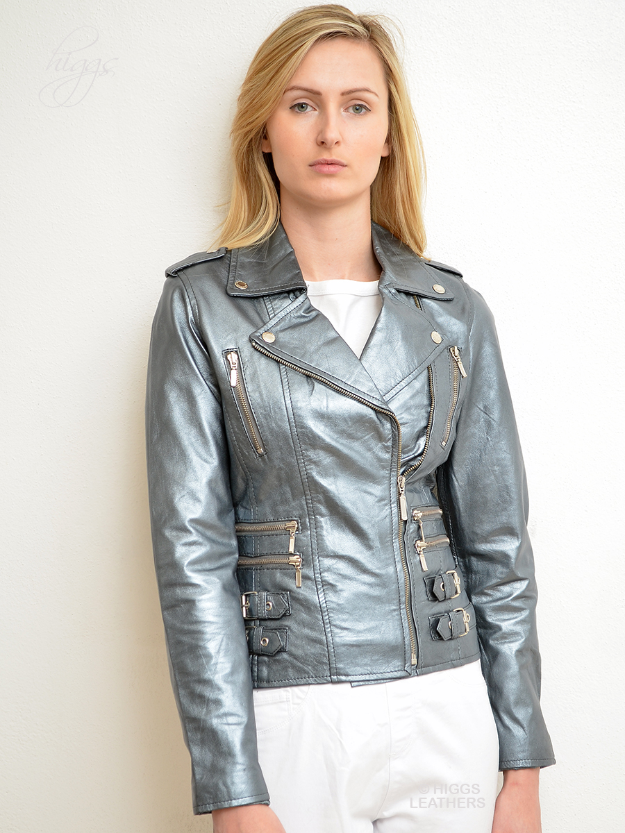 Higgs Leathers {ONE ONLY HALF PRICE!}  Lolito (ladies silver leather Biker jacket)