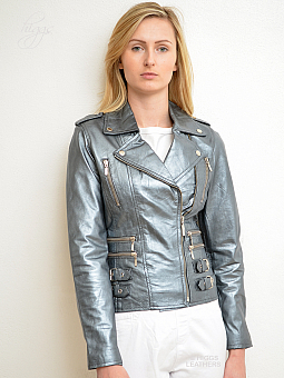 Higgs Leathers ONE ONLY HALF PRICE!  Lolito (ladies silver leather Biker jacket)