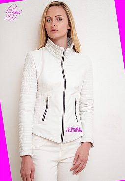 Higgs Leathers Lorette (ladies White Leather Biker jacket)