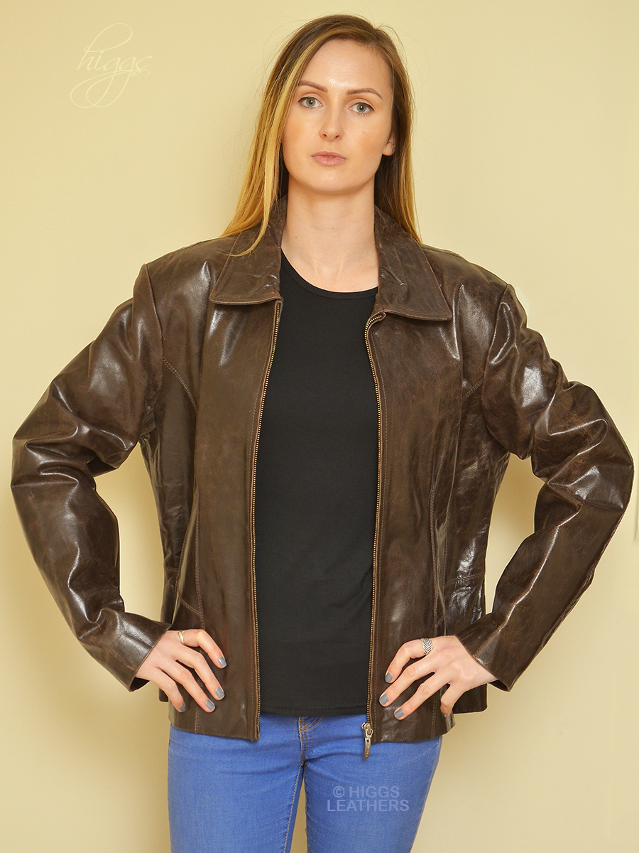 Higgs Leathers {HALF PRICE SAVE  £70!}  Norma (ladies glazed leather Biker jacket)