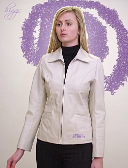Higgs Leathers {30' and 38' bust UNDER HALF PRICE!}  Olivia (ivory leather biker jacke