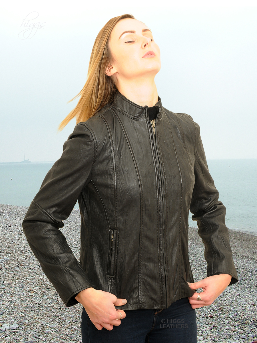 Higgs Leathers {32' to 42' bust!}  Riva (ladies Dark Brown Leather Biker jacket)