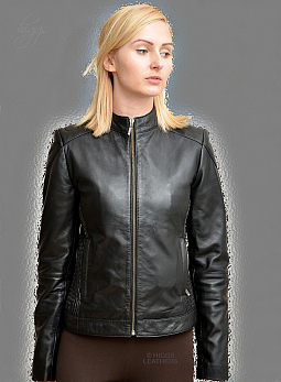 Higgs Leathers Susan (ladies Stretch Black Leather Biker jackets)