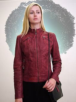 Higgs Leathers LAST FEW!  Trudie (ladies Red Leather Biker jackets)