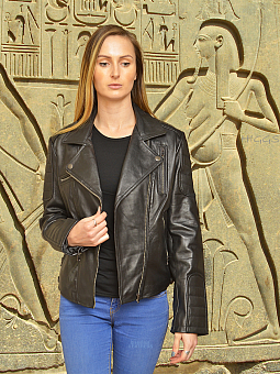 Higgs Leathers SOLD!  Zarra  (Black leather biker jacket)