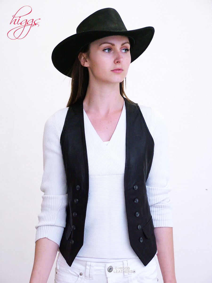 Higgs Leathers  LAST FEW!  Dakota (Black leather Stetson Cowboy hats) 5ab2ed68216d