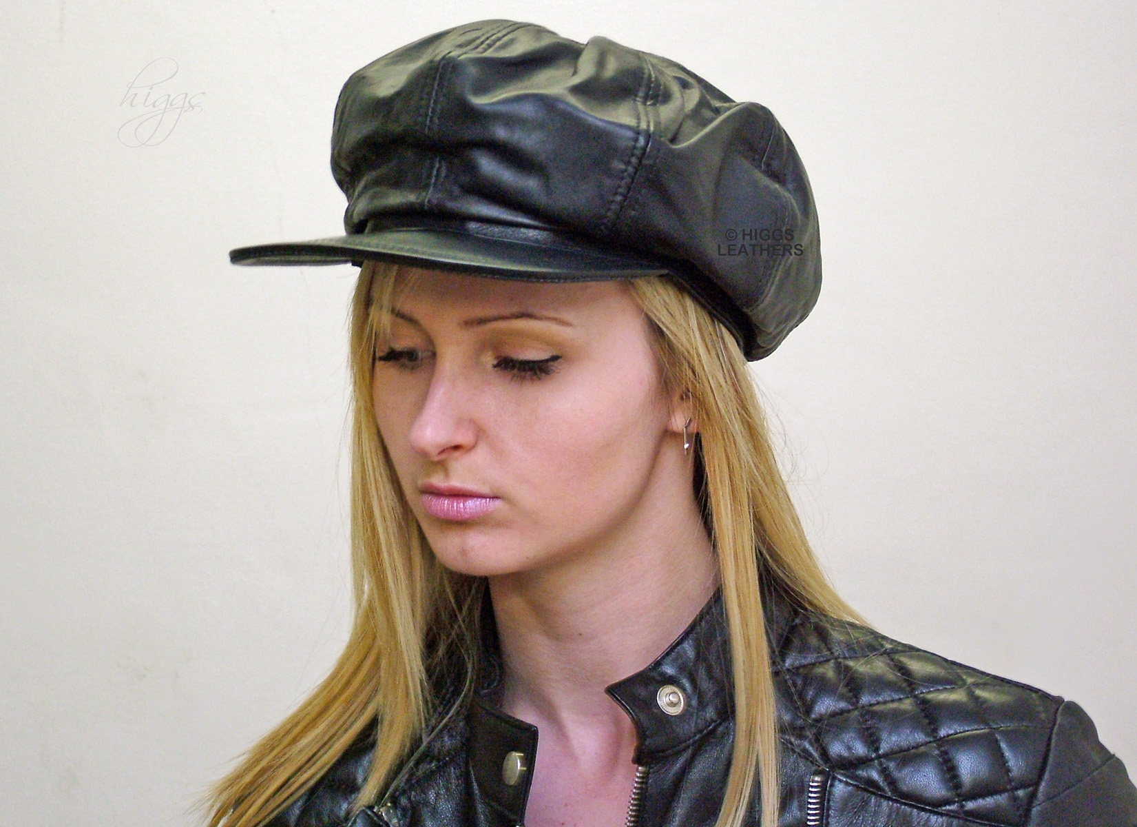 08d8764cbf788 Babita (Ladies Black Leather Baker Boy hats) Modern classic!