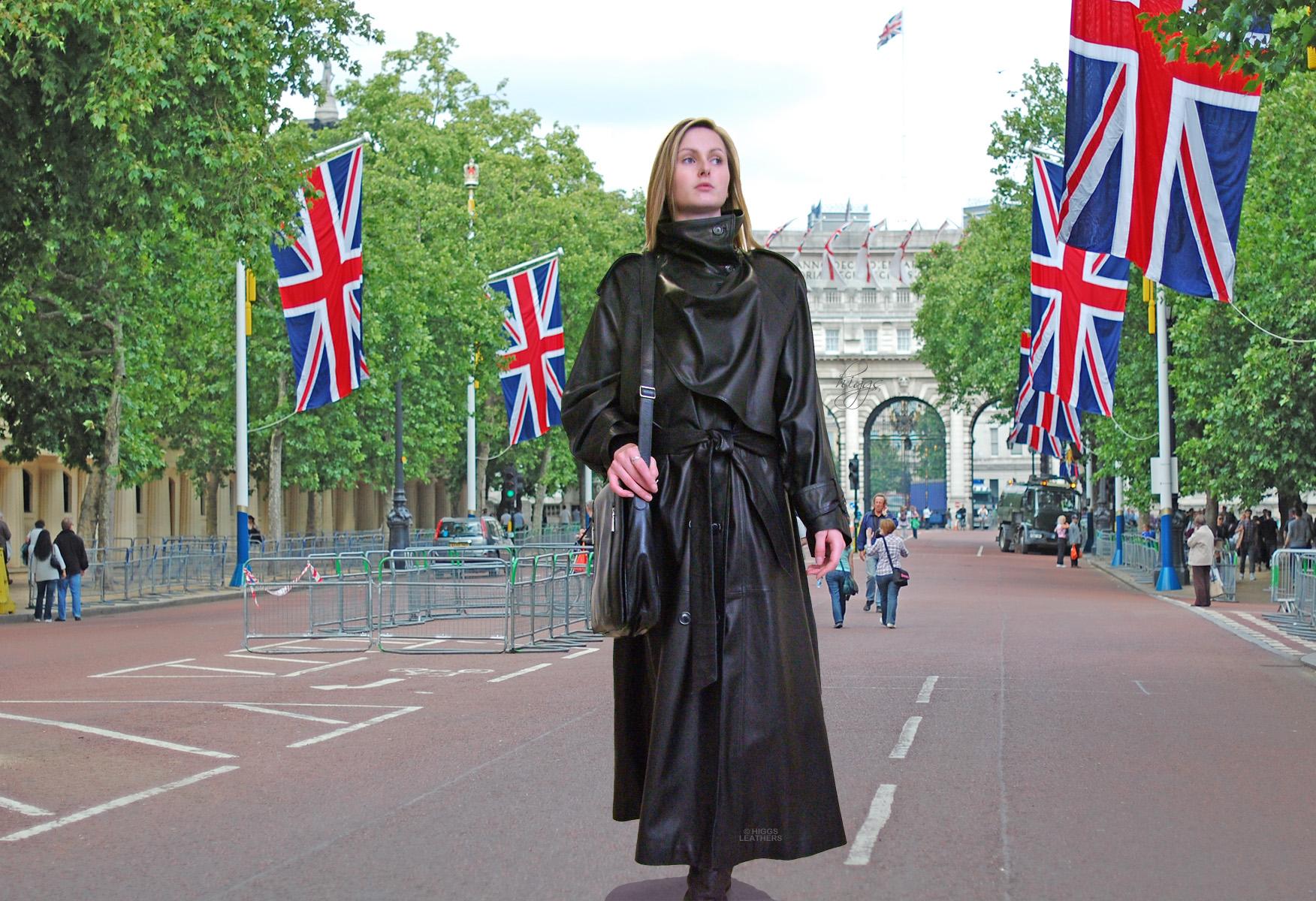 b1547e8f4b7 Charlotte (ladies Designer Black Leather Trench coat