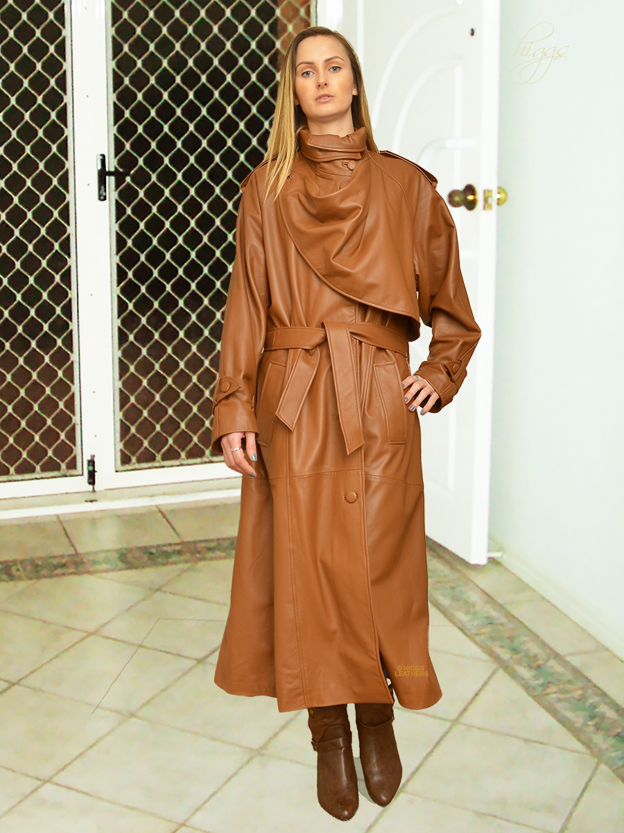 Higgs Leathers {36' to 50' bust}  Charlotte (Designer  style Cognac Leather Trench Coa When only the very best will do!