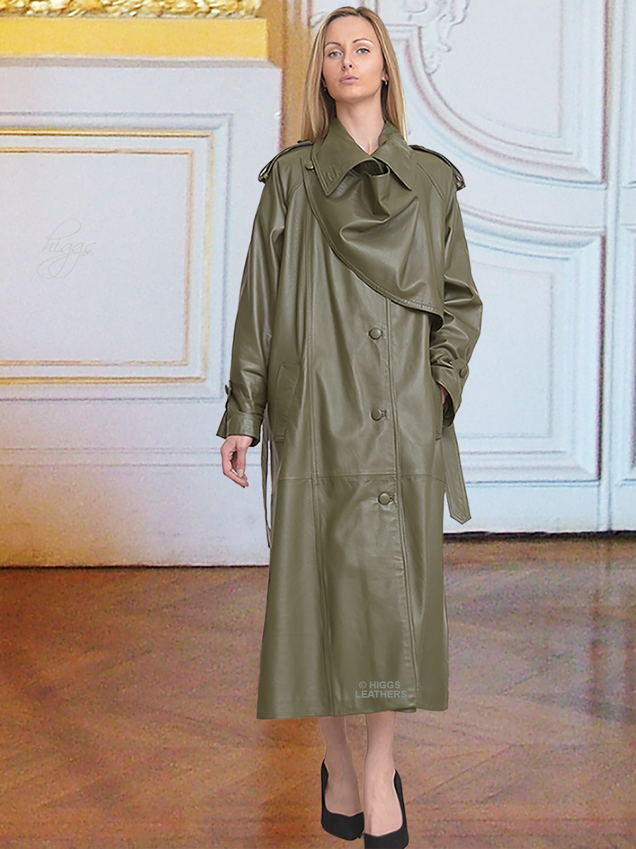Higgs Leathers {SAVE £200!}  Charlotte (women's Designer Green Leather Trench coat) World's Finest Leather Trench Coat?
