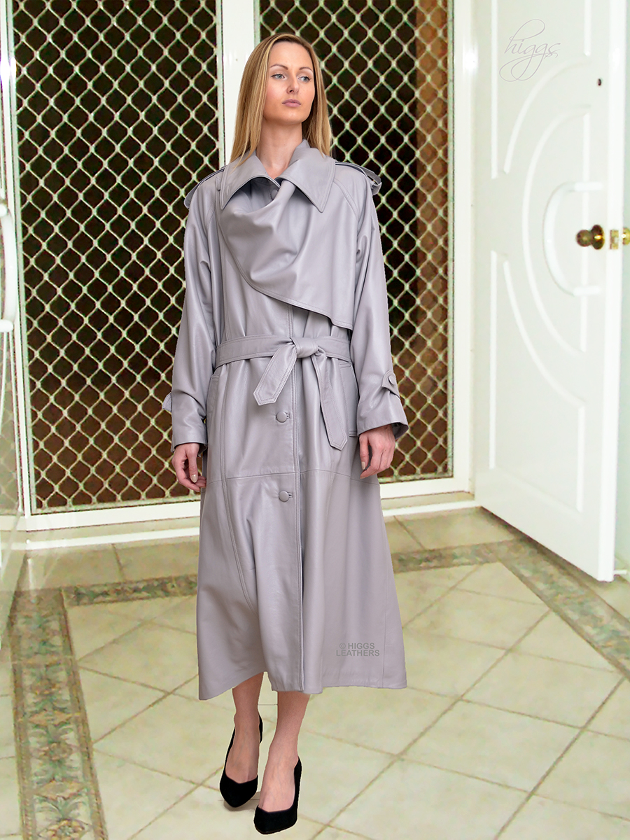 Higgs Leathers {36' to 50' bust}  Charlotte (ladies Grey Leather Designer Trench Coat) Special occasion?  Special coat!