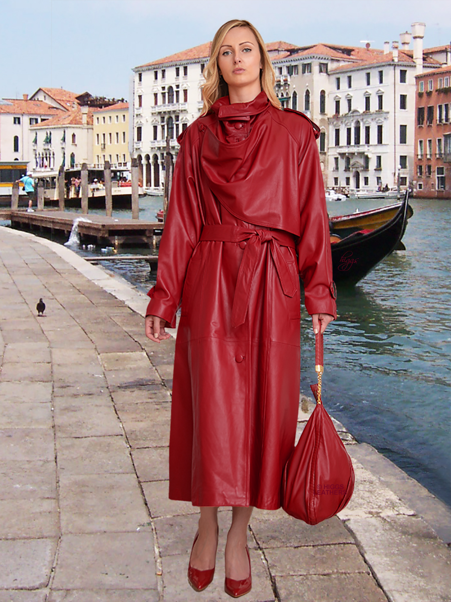 Higgs Leathers {SAVE £200!}  Charlotte (ladies Designer Red Leather Trench Coat) Dream Location - Dream Coat!