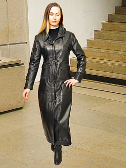 Higgs Leathers ONE ONLY HALF PRICE!  Danya (ladies long black Leather coat)