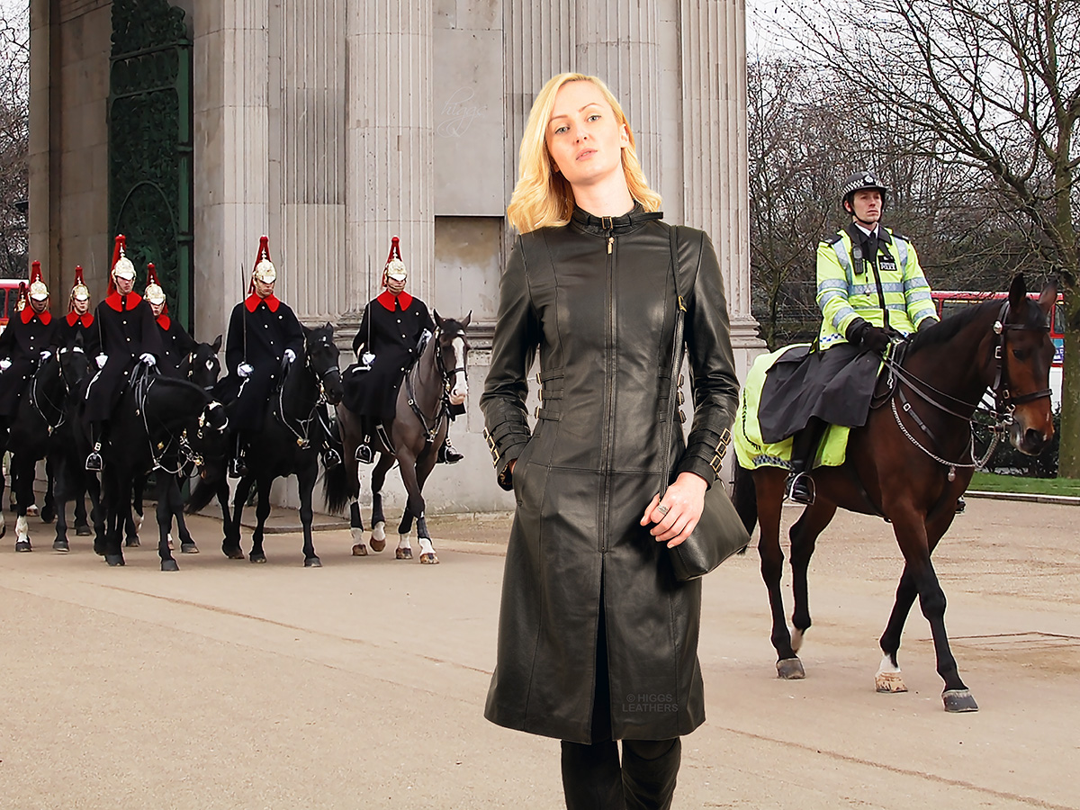 Higgs Leathers ALL SOLD! Felicity (side strapped ladies Black Leather coats)