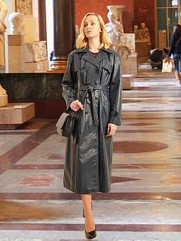 Higgs Leathers Kathleen  (Ladies Navy Leather DB Trench coats)