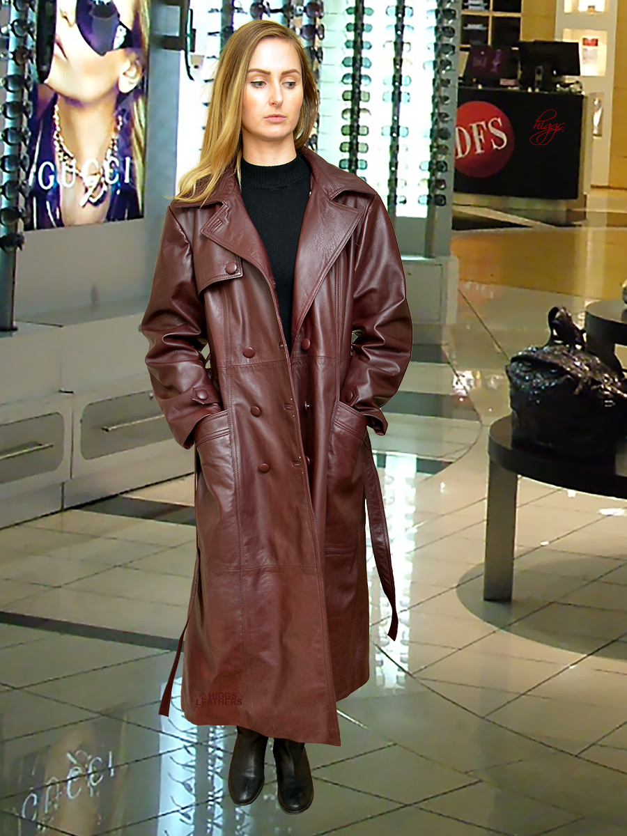 Higgs Leathers {32' to 48' bust}  Kathy  (ladies Special Quality leather Trench coat)