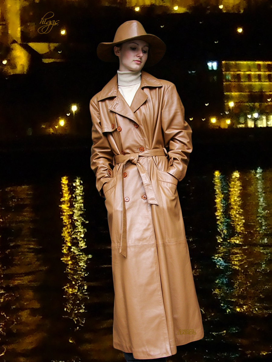 Higgs Leathers {32' to 48' bust}   Kathy  (Ladies Tan Leather DB Trench coat)