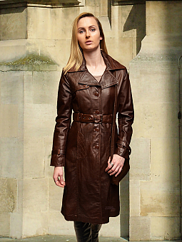 Higgs Leathers ONE ONLY SAVE £100!  Magda (ladies Brown Leather Trench coat)