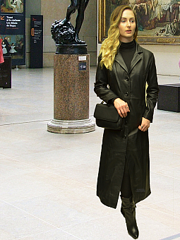 Higgs Leathers NEW STOCK!  Natalie (ladies Black Leather long coat)