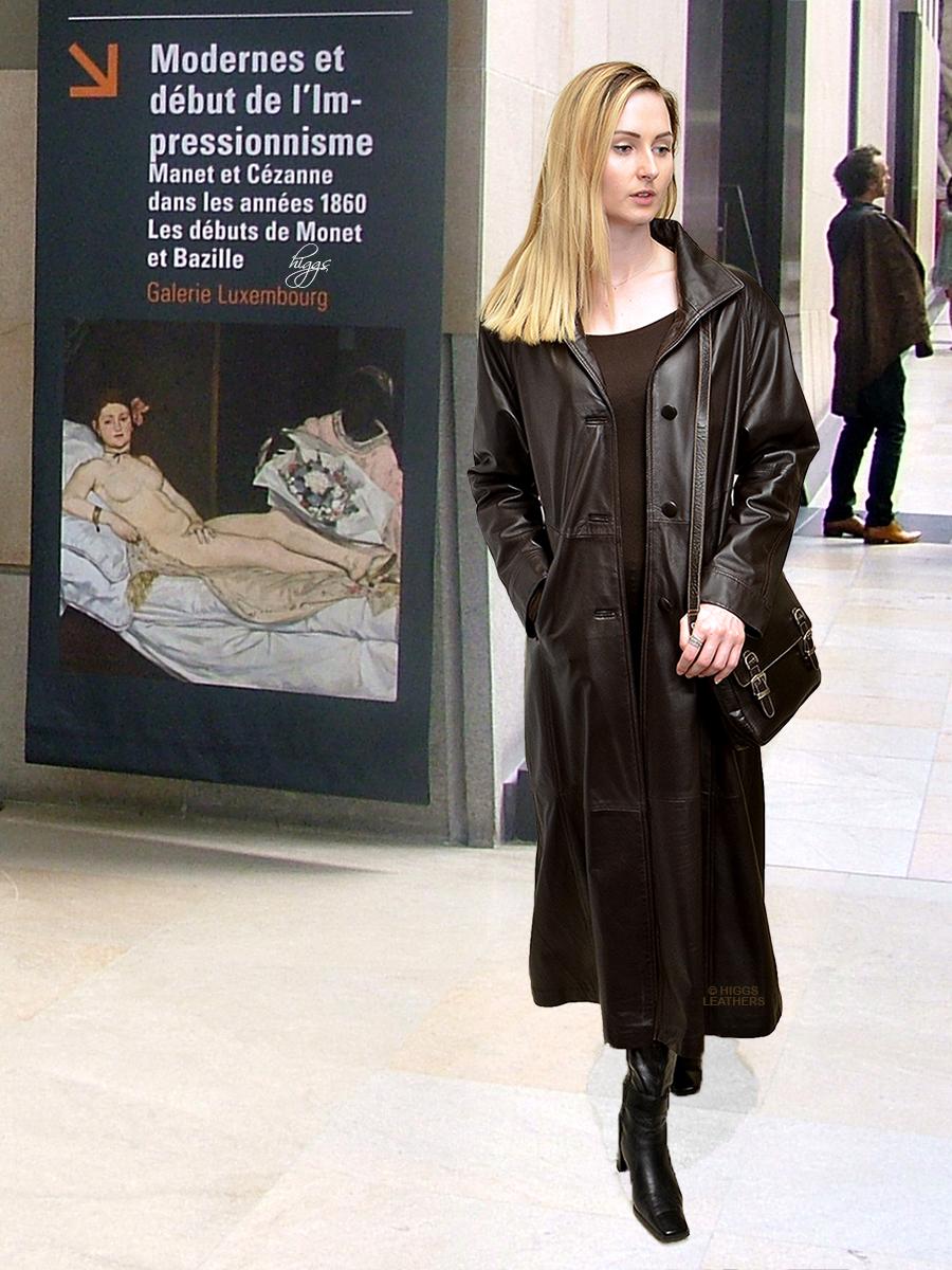 6005d4159628 Higgs Leathers {HALF PRICE!} Tina (ladies long Brown Leather coat)