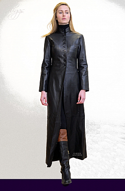 Higgs Leathers Trinity (ladies long Black Leather coat)