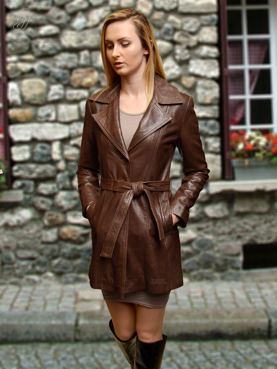 Higgs Leathers  ONE ONLY HALF PRICE! Athena (ladies 3/4 length fitted leather coat)