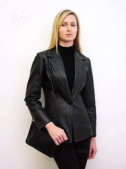 Higgs Leathers Barbi (ladies fitted Black Leather Blazer)