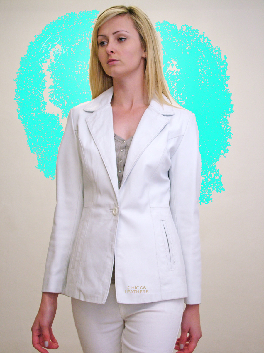 Higgs Leathers {32' to 40' bust}  Barbi (ladies fitted White Leather Blazer) Slimline elegance!