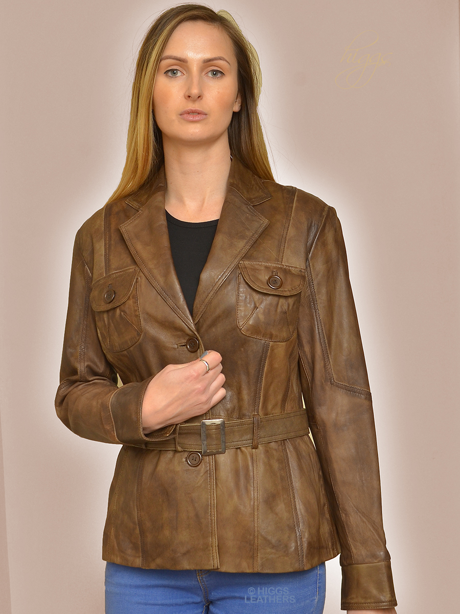 Higgs Leathers HALF PRICE SAVE £80! Beatrix (ladies belted leather jackets)