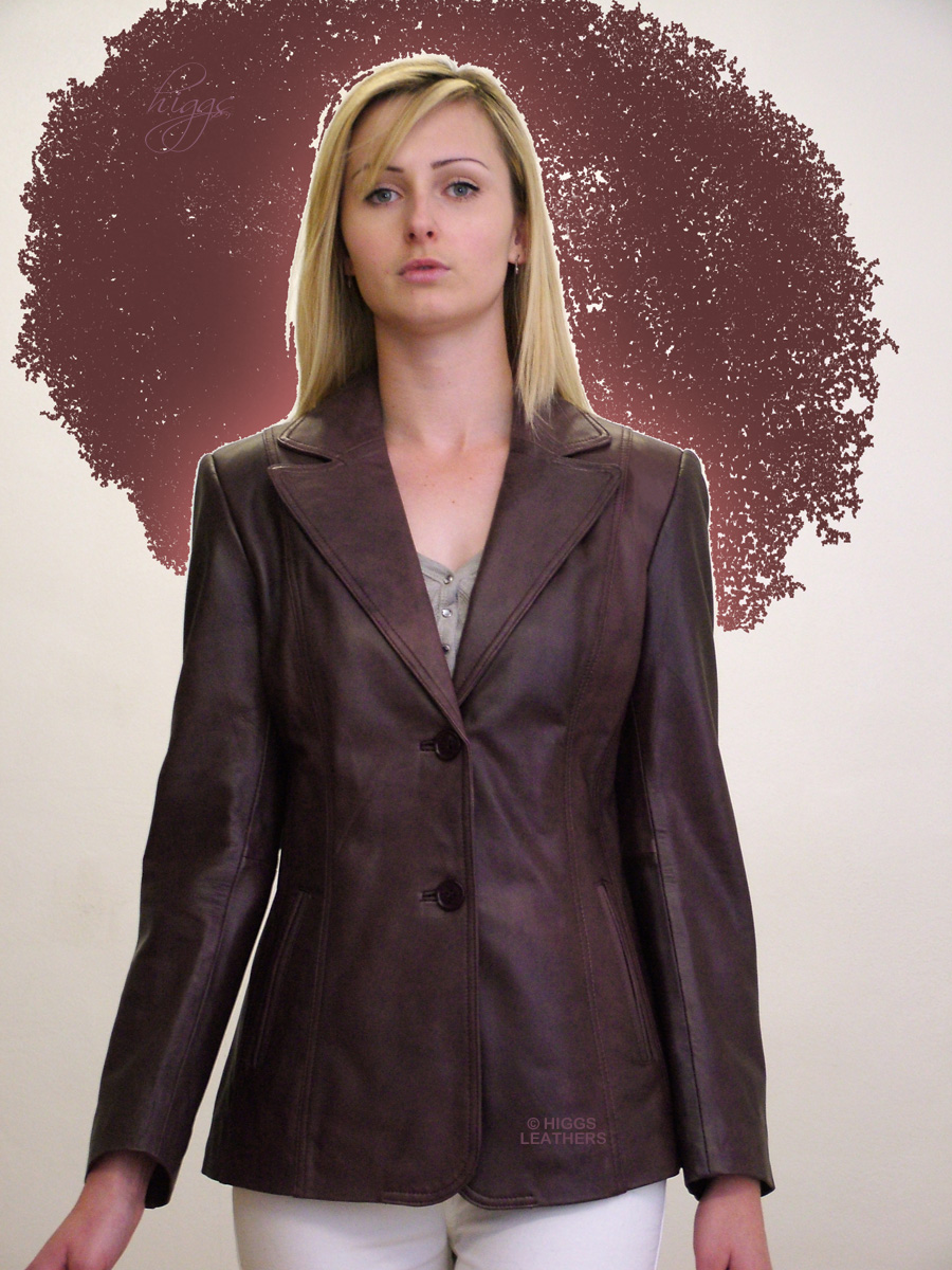 Higgs Leathers {32' to 44' bust}  Betsina (ladies long leather Blazer Jackets) Beautiful Leather Blazers!