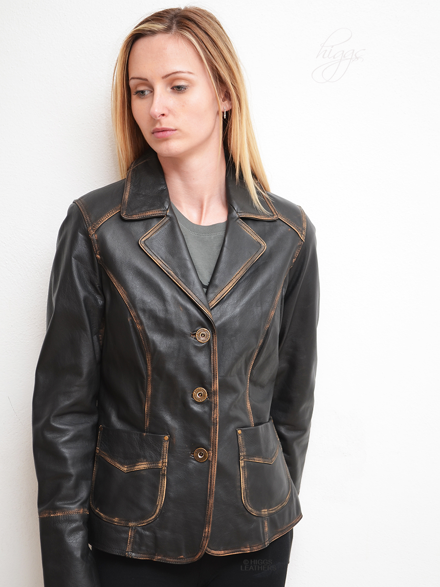 Higgs Leathers UNDER HALF PRICE!  Binky (ladies Black Leather blazer jacket) LAST ONE - EXTRA SMALL SIZE!
