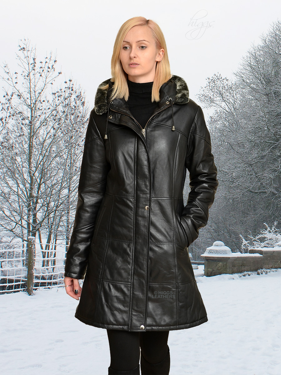 Higgs Leathers {32' to 44' bust}  Deena (ladies Hooded Black Leather Duffel coat) From our selection of Leather Duffel Coats for women!