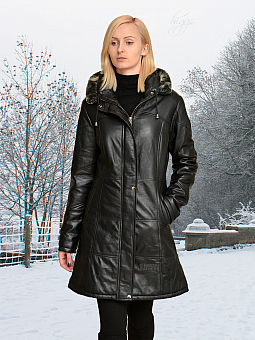 Higgs Leathers Deena (ladies Hooded Black Leather Duffel coat)