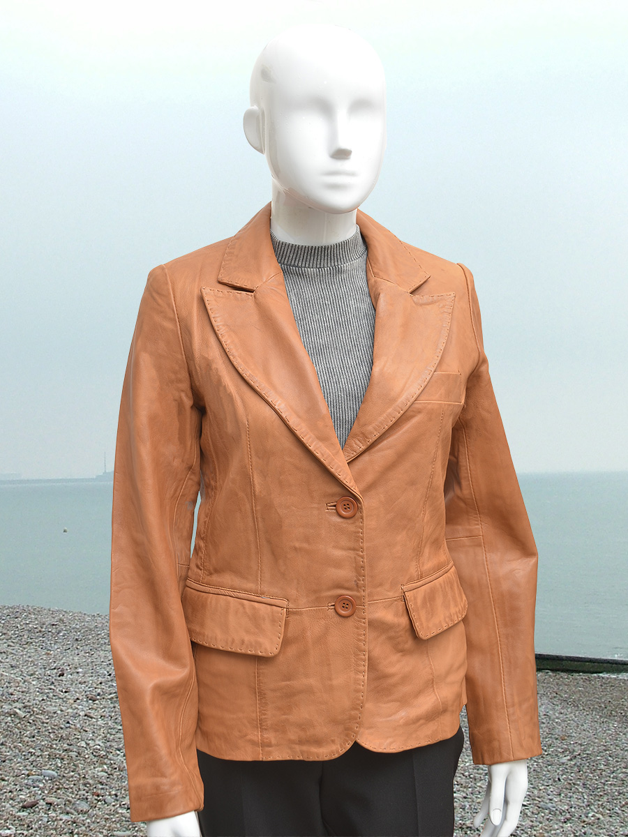 Higgs Leathers {30' to 42' bust}  Izzie (ladies Tan Leather Blazer jacket) Superb!  Saddle stitched leather Blazer jackets!