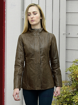 Higgs Leathers SAVE £40  Kyle (ladies fitted Brown Leather jacket)