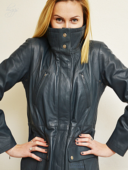 Higgs Leathers NEW!  Palomas (ladies Blue Leather Parka coat)