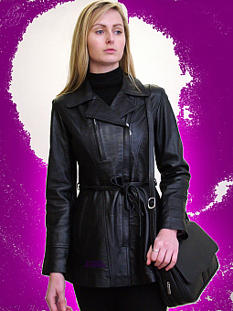Higgs Leathers Sarah (ladies belted Black Leather jackets)