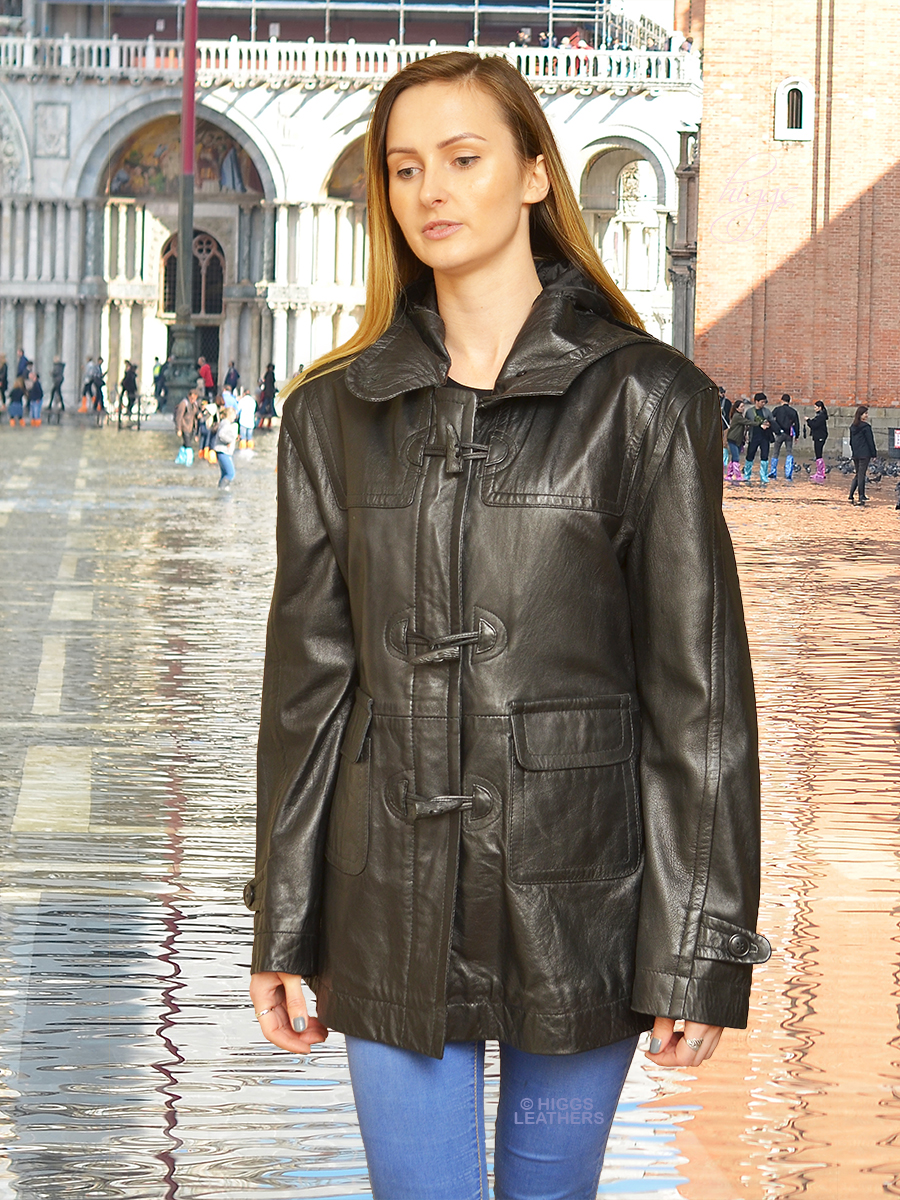 Higgs Leathers {UNDER HALF PRICE!}   Satu (ladies black leather Duffle coat) TWO ONLY UNDER HALF PRICE!