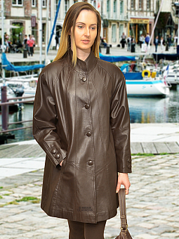 Higgs Leathers Shirley (ladies Brown Leather swingback coat)