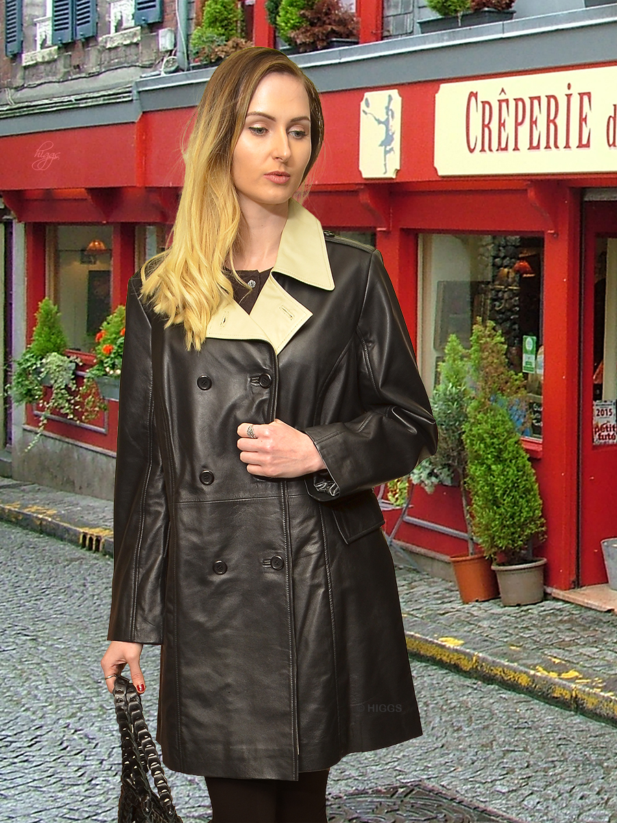 Higgs Leathers {38' bust HALF PRICE!}  Sophie (black and ivory leather coat) SIZES 46' and 48' BUST