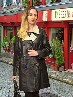 Higgs Leathers PLUS SIZES HALF PRICE!  Sophie (ladies black and ivory leather coat)
