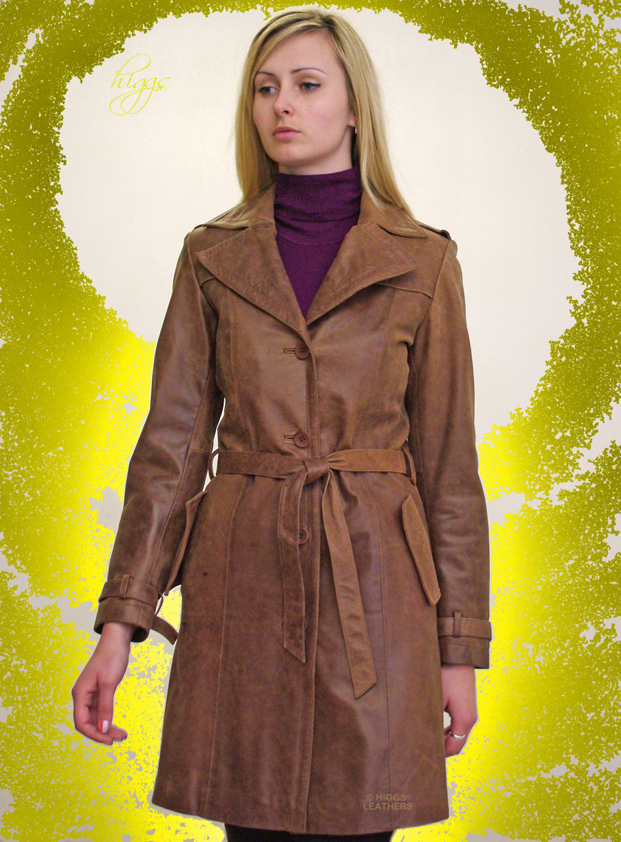 Higgs Leathers UNDER HALF PRICE!  Tanzee (ladies leather trench 3/4 coat) UNDER HALF PRICE!