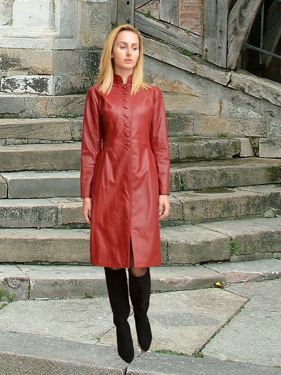 Higgs Leathers {32' bust HALF PRICE!}  Trinity (ladies fitted Red Leather coat)