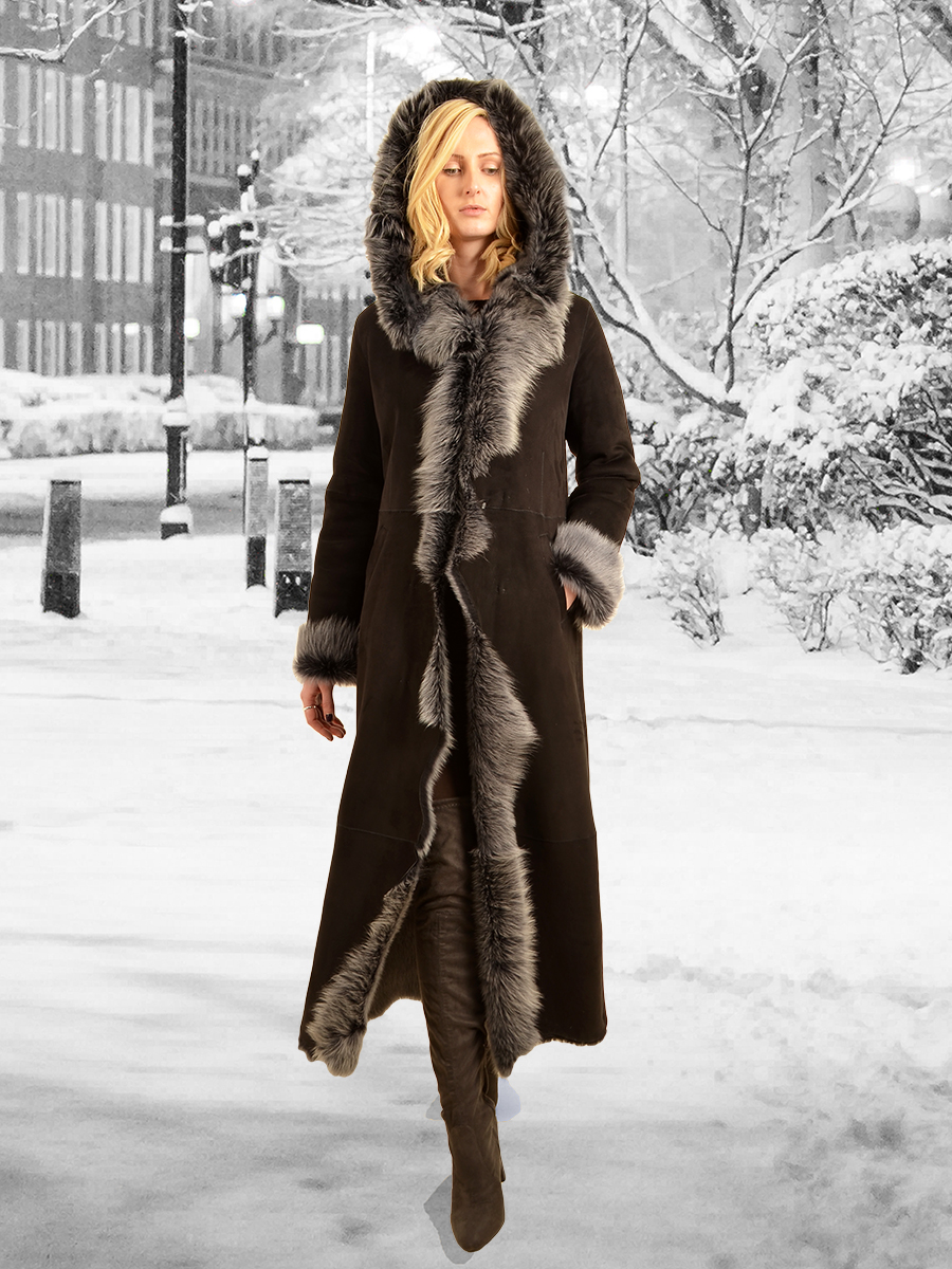 Higgs Leathers {32' to 44' bust}  Alana (ladies Hooded Toscana shearling coat) 32' to 44' bust